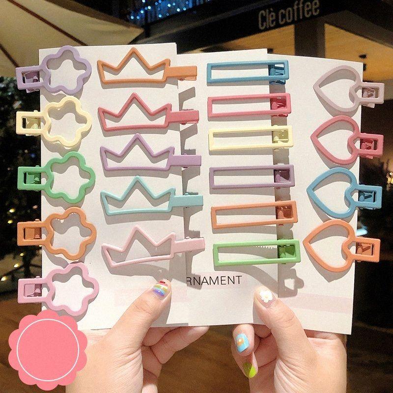 7PCS / Set Neue Frauen-Mädchen-nettes Süßigkeit geometrisches Muster Haarnadel süßes Haar-Klipp-Haarspangen Haarschmuck Mode-Accessoires ZSd6 #
