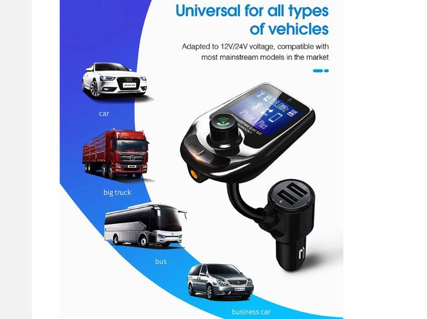 D4 Bluetooth MP3 Player Radio Sender Audioadapter QC3.0 Auto Bluetooth FM Lautsprecher Fast USB-Ladegerät LCD-Anzeige Auto Bluetooth-Kit