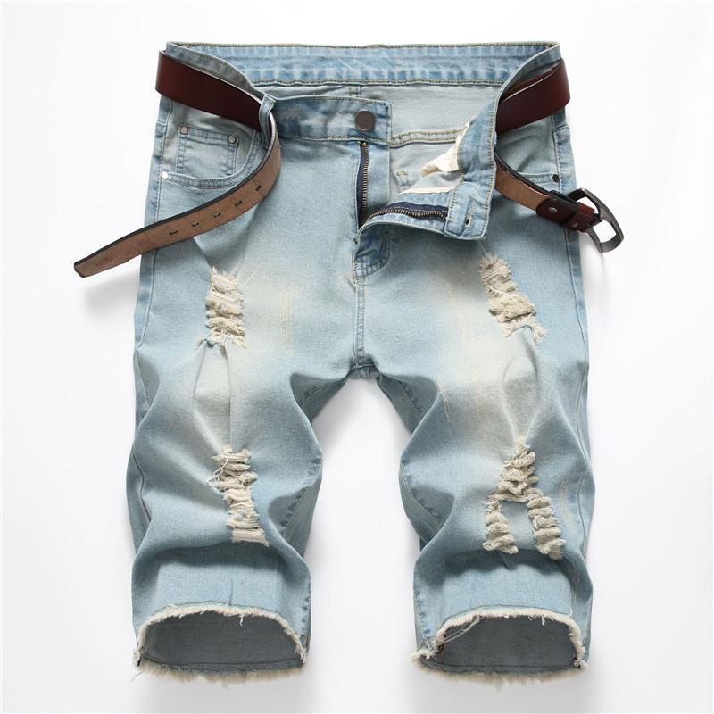 Erkek kot 2020 yeni modu erkek kot şort orta katlı düz streç nostaljik mavi kot pantolon daha fazla boyut 28-38 40 421