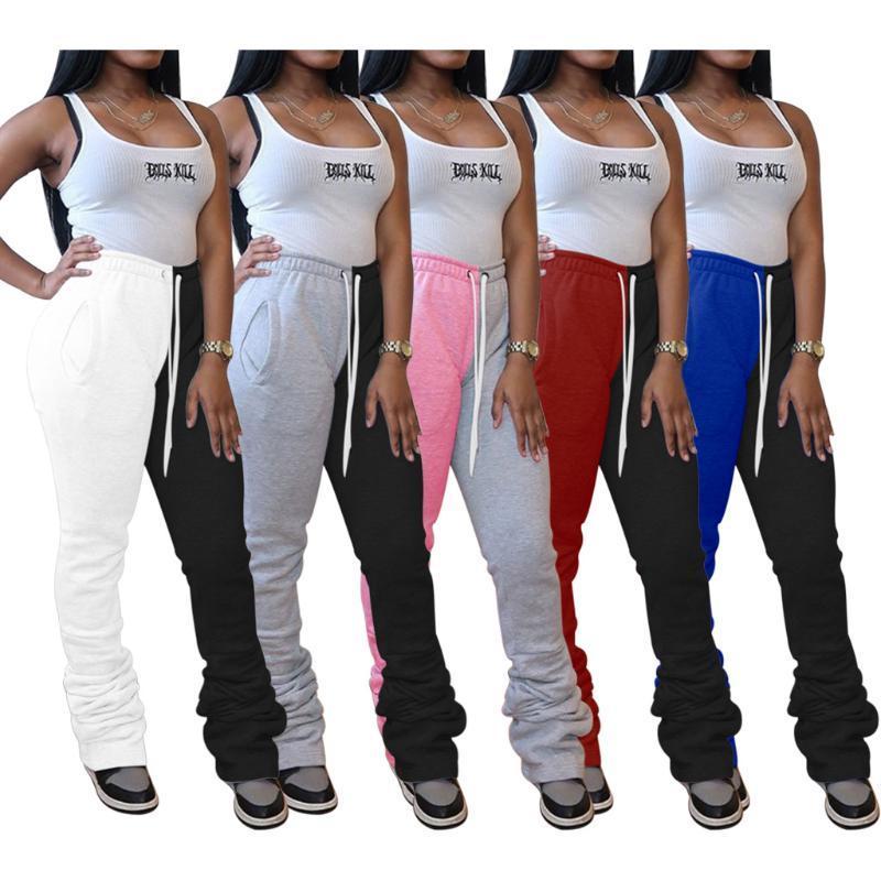 Pantalon femme d'automne FNOCE jeune mode casual Patchwork taille haute plissés crayon Pantalon slim pantalon sport