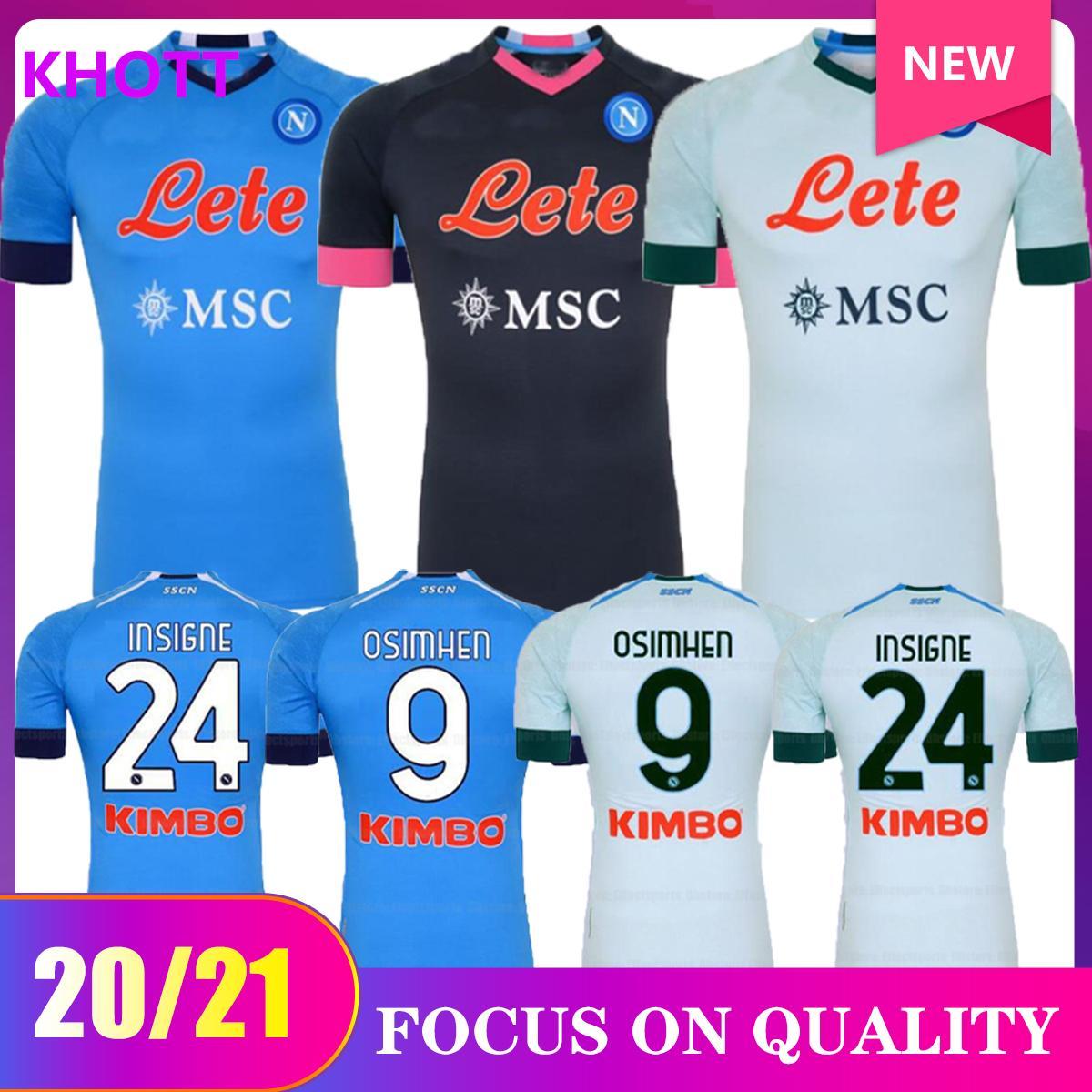 20 21 NAPOLI Soccer Jersey Napoli Camicia da calcio 2020 2021 Koulibaly Camiseta de fútbol Insigne Milik Maillots H.lozano Mertens Uomo