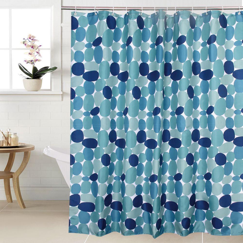 Happy Treepolyester Pabble Pierre Rideau de douche étanche Rideau de salle de bain bleue Rideau de bain en pierre bleue 180x180cm Q0121