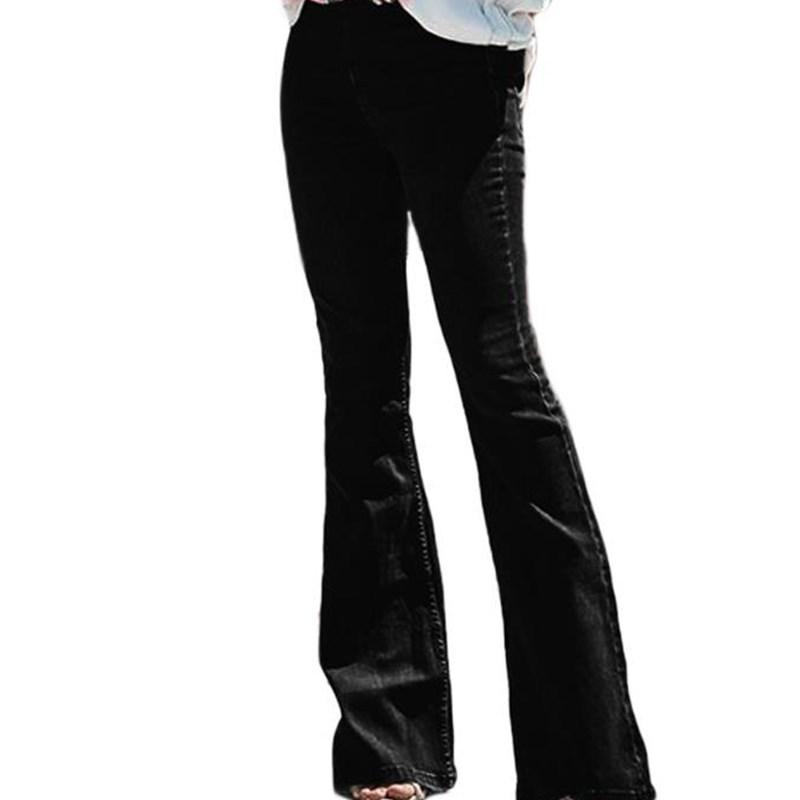 Hohe Taille Jeans Mama Flare Jeans für Frauen Bell Bottom Bottom Vintage Denim Dünne Frau Plus Größe Schwarz Weibliche Breite Beinhose