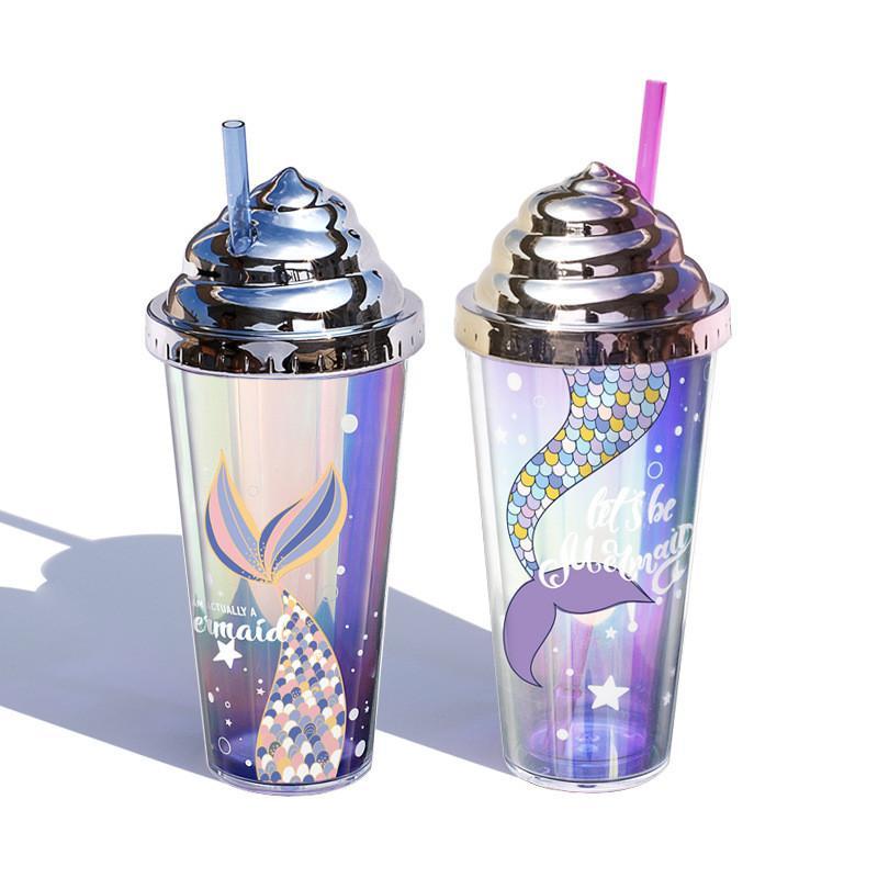 Elektroliz Glitter Yaratıcı Saman Mermaid Plastik Fincan Çift Katmanlı Kullanımlık Tumbler Kupa Mermaid Desenleri ile Deniz Nakliye FFB4679