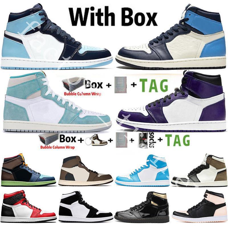 1 1s Con la scatola StockX Mens scarpe da basket 1s superiore Obsidian UNC Fearless PHANTOM TURBO VERDE 1 Tabellone GYM rosso sport Sneaker Trainer Size 36-47