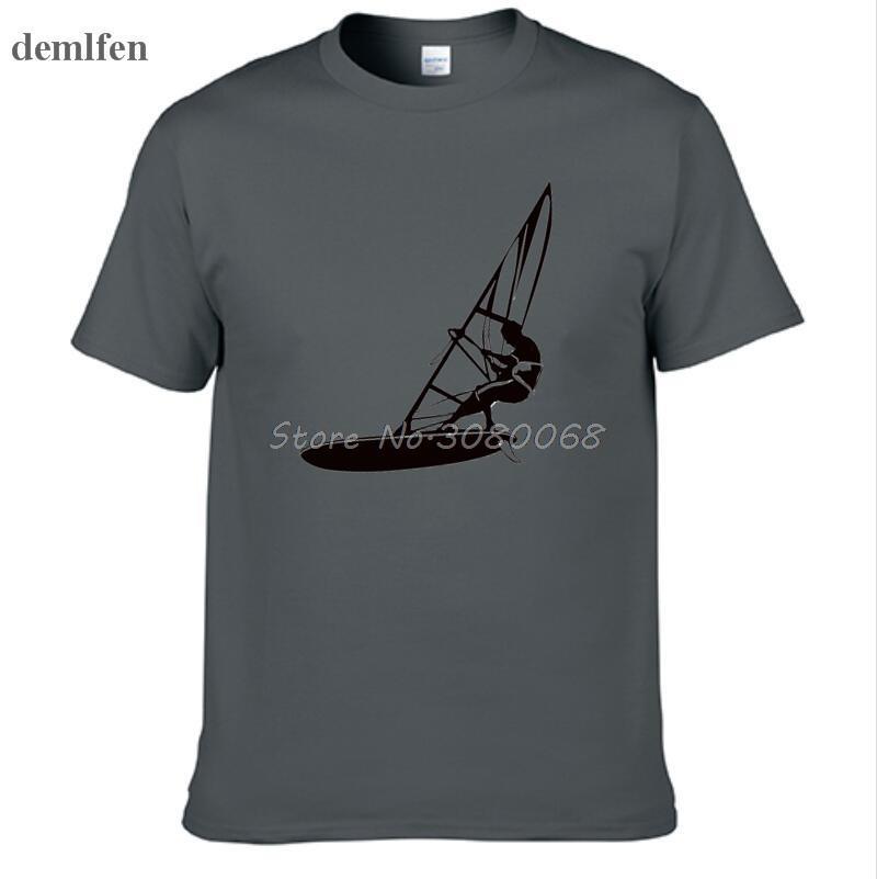 Sport Nouveauté Planche à voile Imprimer T-shirt d'été des hommes T-shirt 100% coton à manches courtes T-shirt de cadeau d'anniversaire drôle T-shirts Tops
