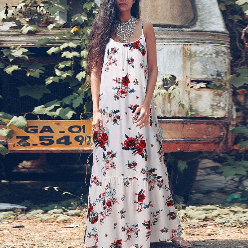 Günlük Elbiseler Artı Boyutu kadın Çiçek Sundress Zanzea Bohemian Yaz Maxi Elbise Spagetti Kayışı Beach Vestidos Kadın Backless Robe