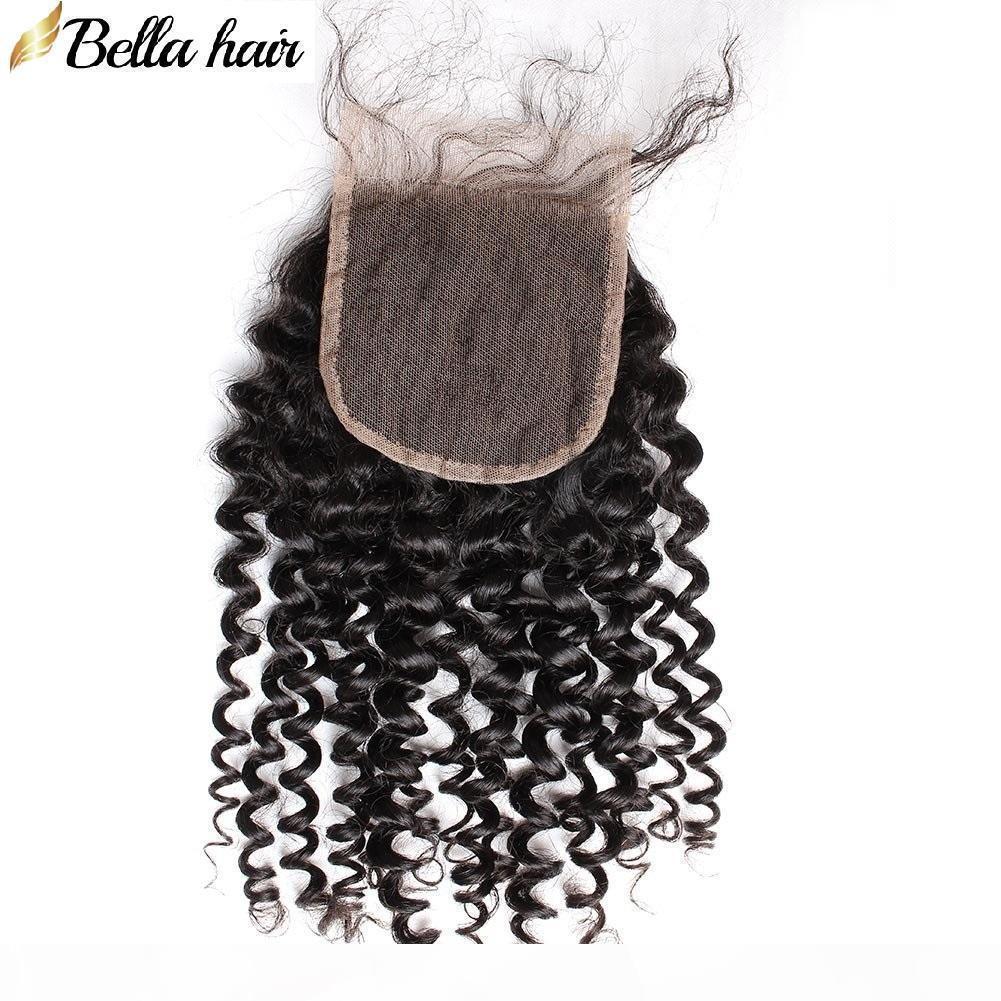 Peruanische kinky lockige spitze schließung menschliches haarverschluss 4x4 freie teile obere schließungen mit baby haar lockige jungfräser haar bellahair