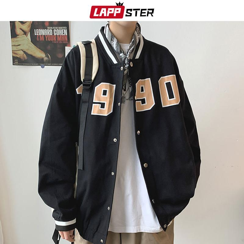 LAPPSTER Erkekler 1990 Baskı Beyzbol Ceketler Coats 2020 Japon Hip Hop WINDBREAKER Erkek Koreli modası Bombacı Varsity ceketler 1111