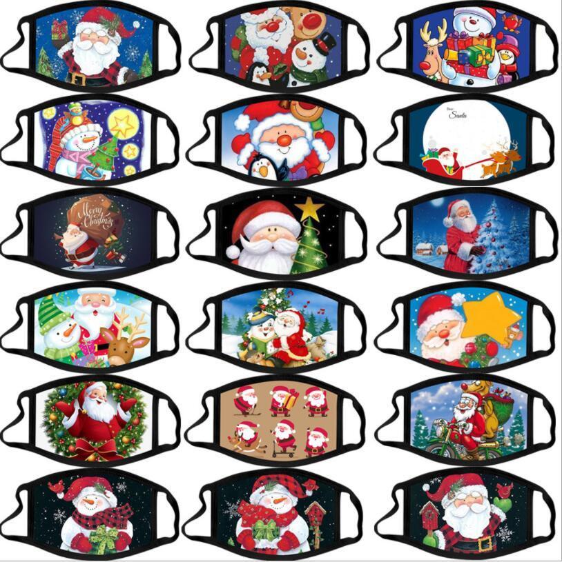 Masques Visage du Père Noël Bonhomme de neige imprimé Bouche couverture Adulte Imprimer Masque anti-poussière brouillard respirant Lavable Masques réutilisables AHB2267