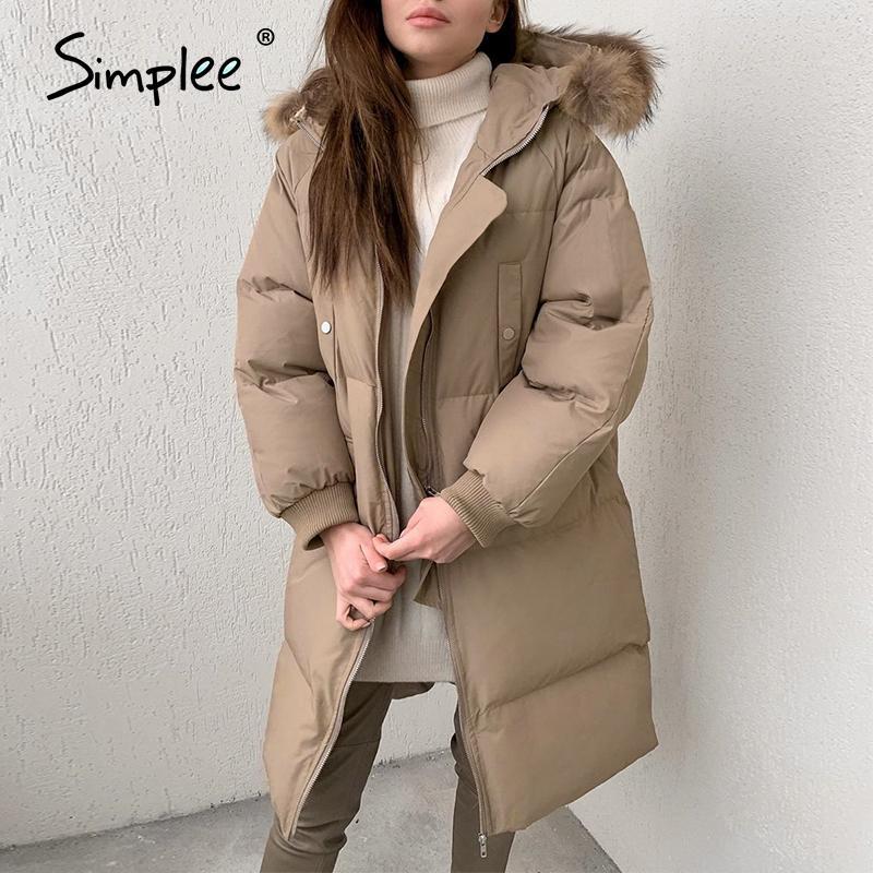 Simplee chaudes femmes automne hiver brun parkas bureau de la mode haute rue dame veste à manches longues parkas élégantes avec chapeau 201019