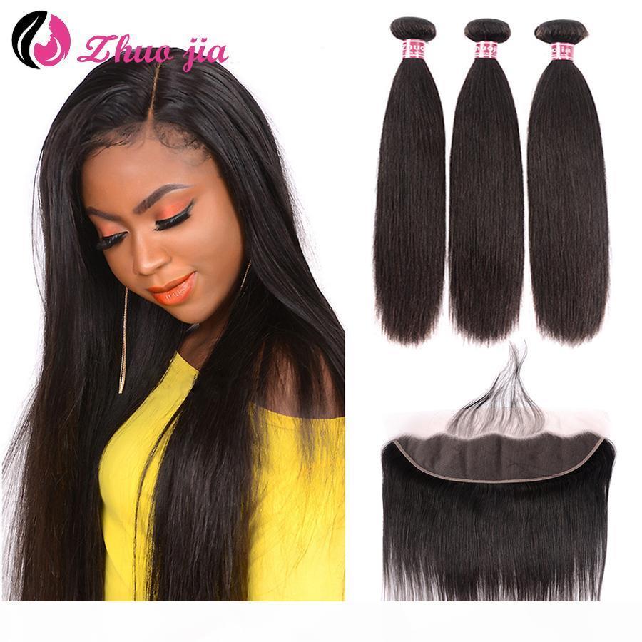 Zhuo Jia Brasilianer Gerade Menschenhaarbündel mit Frontal 13x4 Spitze Frontal mit 30 Zoll Bündel Remy Human Hair Extension