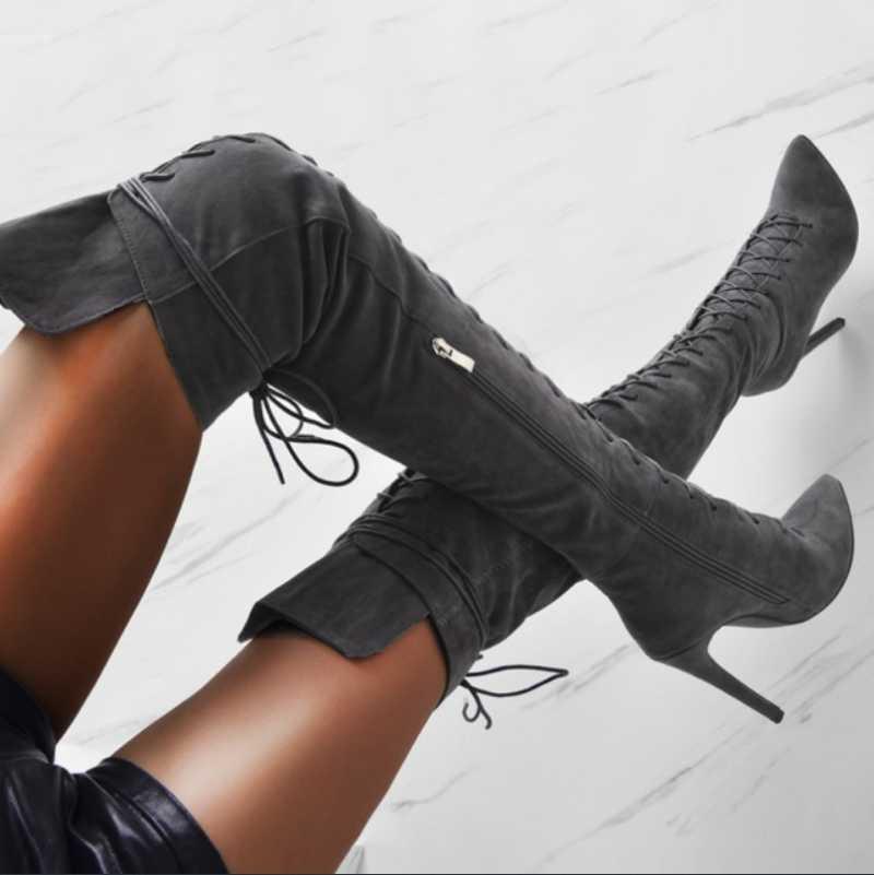 T станция сапоги Тонкого каблук высоких сапоги женщин способ сексуального острый нос крест ремни над коленом Женского 2020 Black