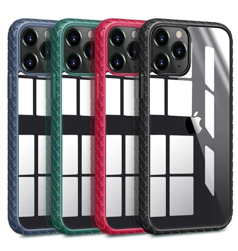 아이폰 (12) 미니 (11) 프로 맥스 XR XS 7 8 플러스 SE2020에 대한 명확한 아크릴 하드로 돌아 가기 소프트 TPU 미끄럼 방지 충격 방지 전화 케이스