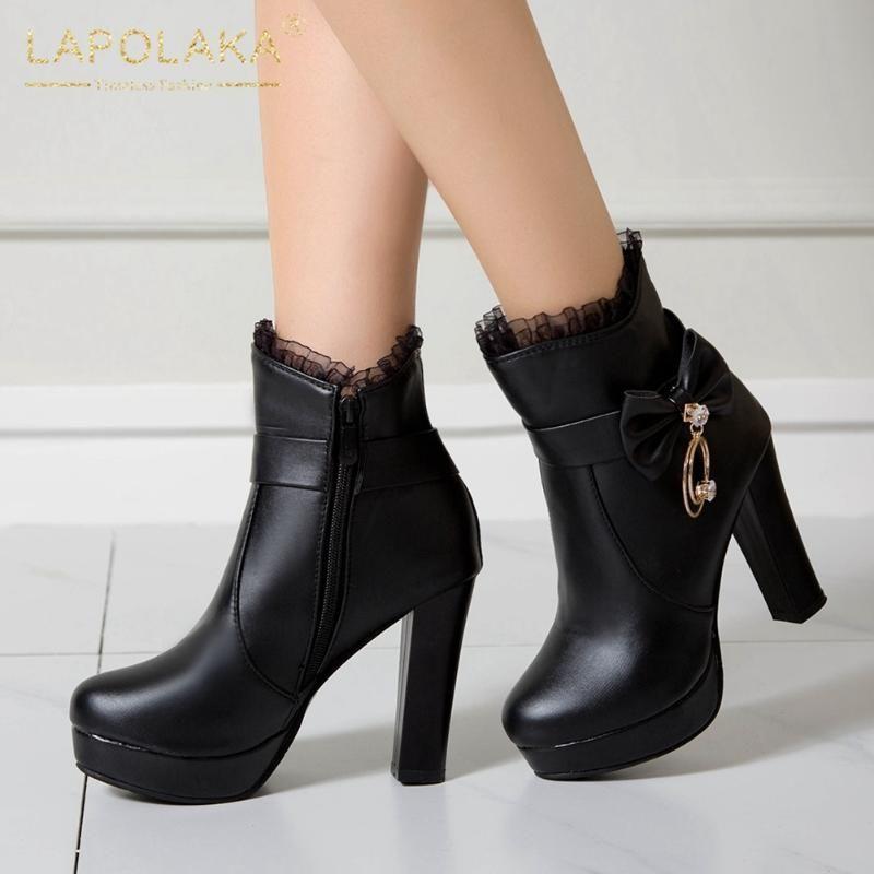 Escritório 2020 Tamanhos Grandes 43 Plataforma Salto Alto Mulher Outono-Inverno Shoes elegante do laço das senhoras Botas Calçado de mulher