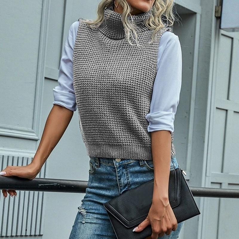 Женские жилеты 2021 осень зима водолазка без рукавовного свитера жилет женская мода короткий пуловер жилет вскользь свободные трикотажные вершины