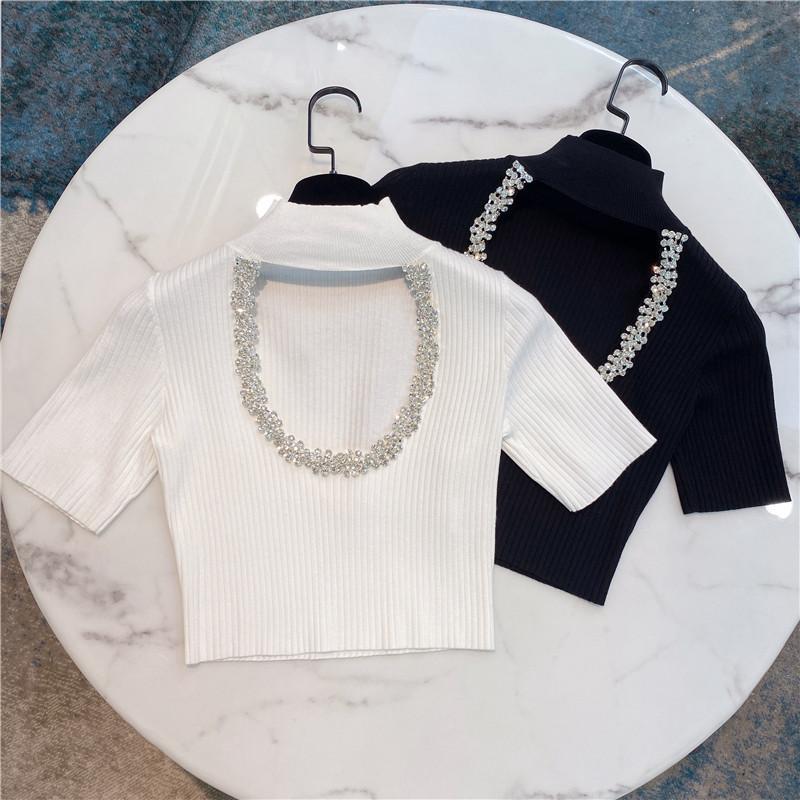 Kırpılmış tişört Kadın 2020 Yaz Yeni Zarif Ağır Sanayi Kristal Sıkı Kısa Örme tişört bayanlar Üst Beyaz Siyah Z117 için