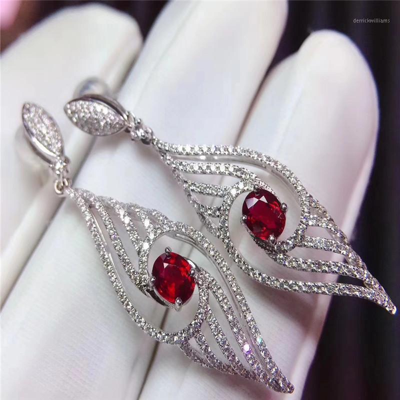 Moda Ruby Brincos de Prata para a Parte Da Noite 3 Mm * 5 mm Pêra Corte Ruby Brincos 925 Jóias de Prata Esterlina1