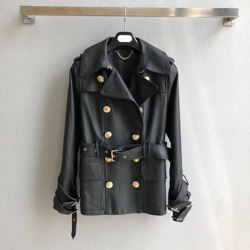 Women's Trench Coats Luxury French Brand Paris Designer High Quality Black Double Breasted Leather Jacket 2021 Runway Collection