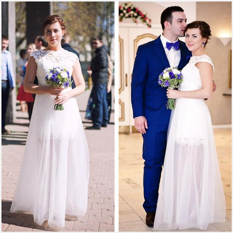 2021 Diseño simple Vestidos de novia Casquillo de manga Top Falda de tul de la línea Una línea Longitud de la longitud Bata de Mariée