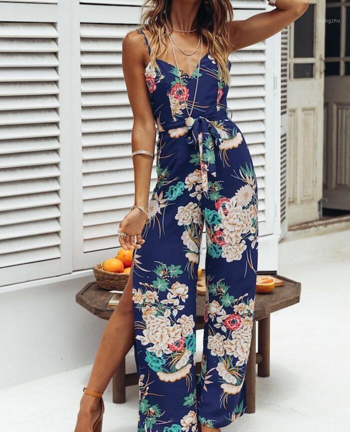 floral print Women Ladies Jumpsuits Clubwear Summer V Neck Loose split Playsuit Bodycon beach Jumpsuit Romper female long overal1