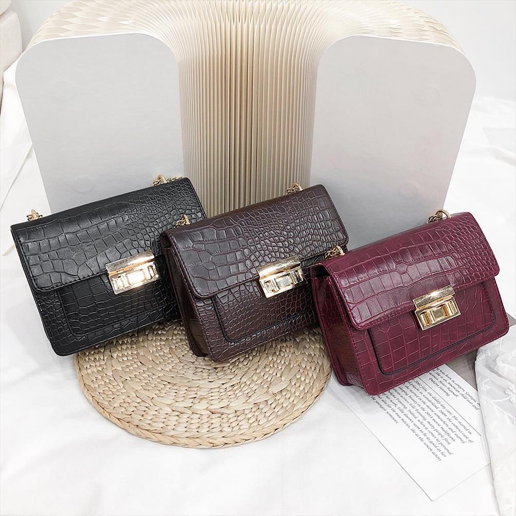 Teste padrão de pedra bolsas Bandoleira For Women 2019 Moda pequeno Cores sólidas Shoulder Bag Flap Feminino bolsas e bolsos