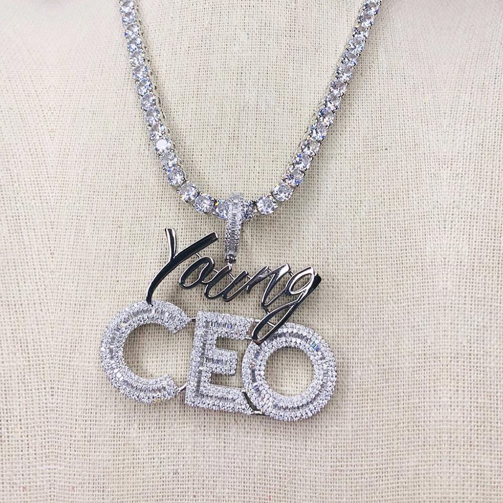 5mm Tennis Catena della lettera CEO CEO Collana Collana Hip Hop Full Iced Out Cubic Zirconia Gold Sliver CZ Pietra CEO Collana per uomo Y0124