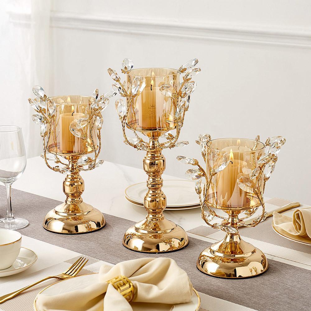 الذهبي الحديد شمعة حامل الشموع الهندسية الأوروبية رومانسية كريستال شمعة كأس ديكور المنزل مركز الزفاف الجدول الديكور 201202