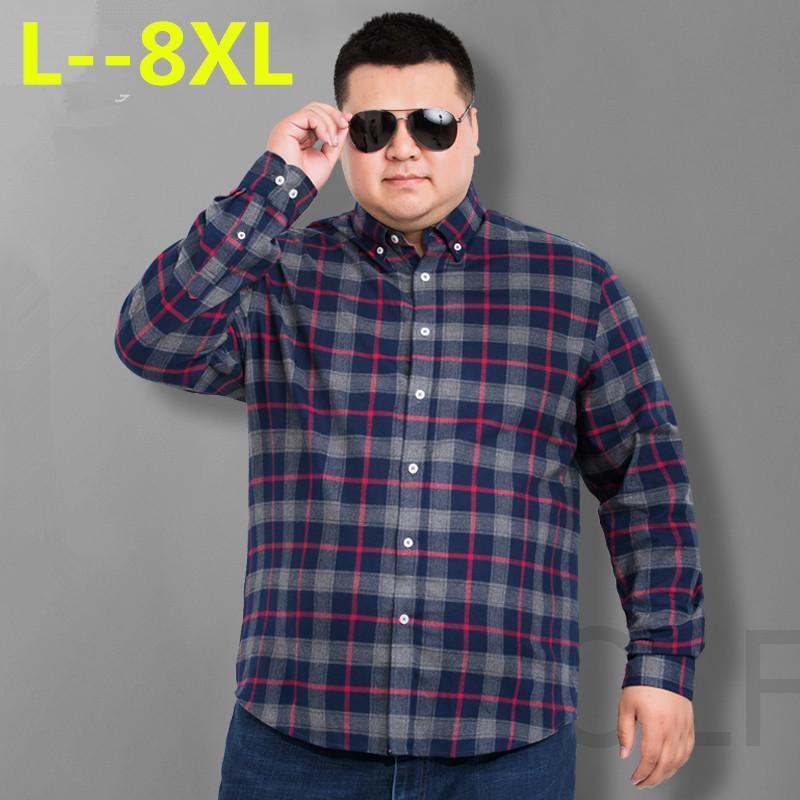 Męskie koszule Social Men Camisas 10xl 8XL Jesień Moda Plaid Long Sleeved Male Button Down Check Koszula