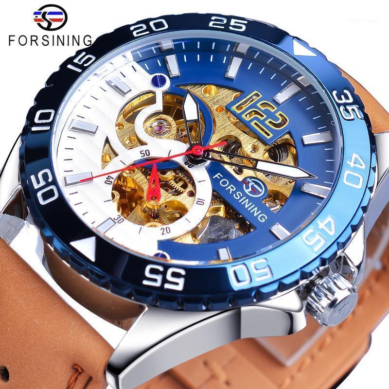 Granining einzigartige Herrenuhr Automatisches kreatives halb blaues weißes Hohlrad Echtes Leder Mechanische Uhr Mode Relojes 20201