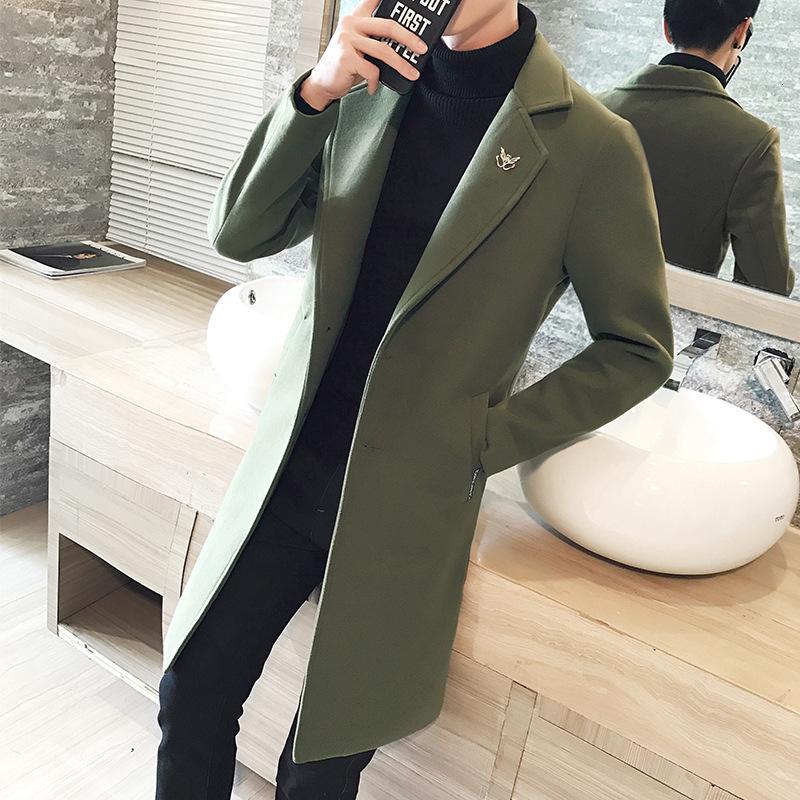 Laine Automne Hiver 2020 Grand manteau pour hommes Moyenne longueur Slim Windbreaker noir Collier de costume de mode noir