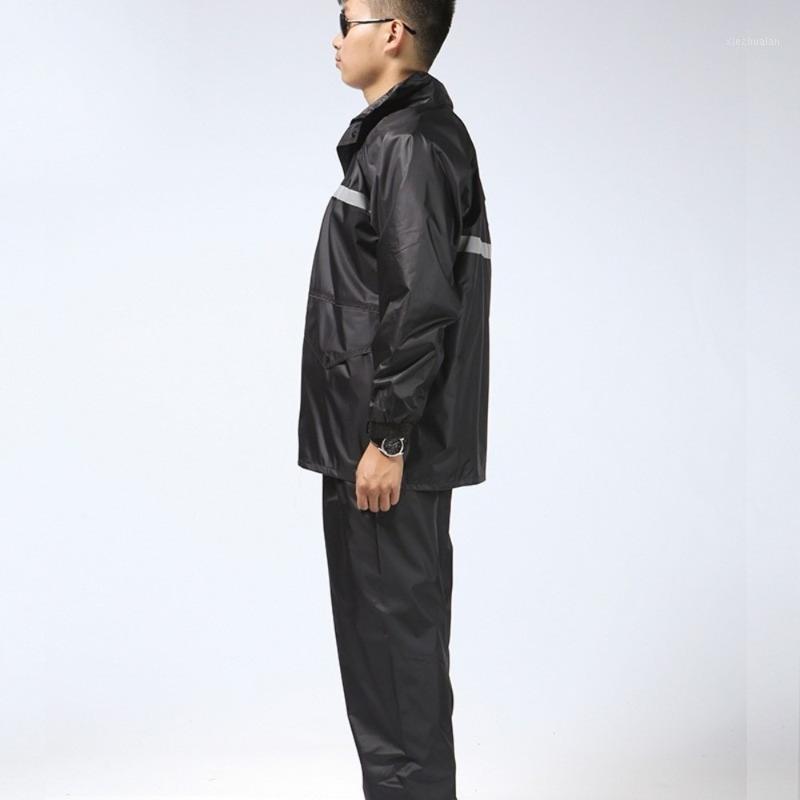 Açık havada siyah görev komuta bölünmüş vücut takım elbise yüksek yol yönetimi reflektör çift katlı Oxford bezi yağmurluk1