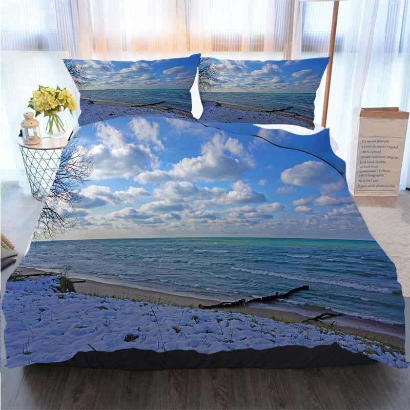 Imposta 3D Stampato Buon Natale Federa Lago Michigan spiaggia di inverno Nuvole Shore Saluto Quilt Bedding Comforter Bedding