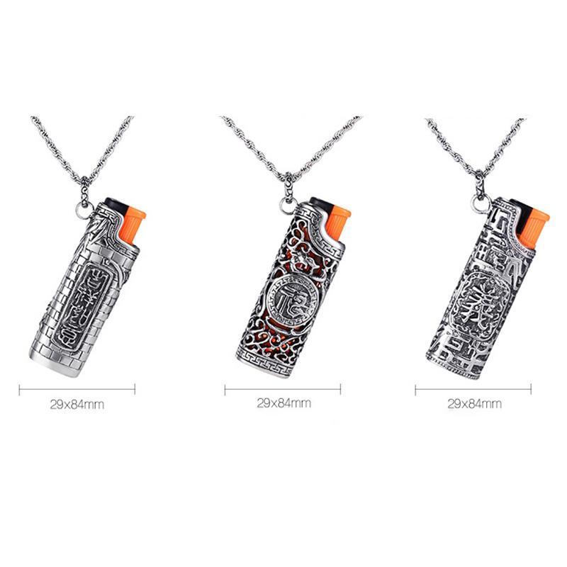 Прохладный ожерелье Кобура Зажигалка Shell Рукав защитный чехол кожи Портативный инновационный дизайн для сигарет Herb Бонг курительная трубка DHL