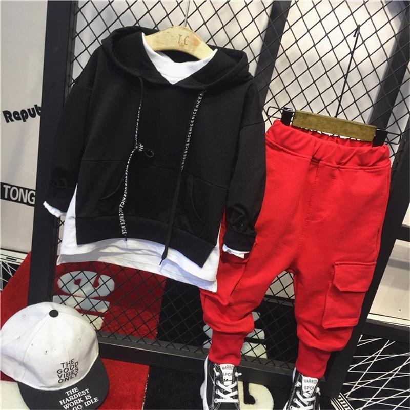 2 шт. Мальчики мода одежда набор детей поддельные две толстовки и красные брюки набор ребенка Все матч повседневная одежда детей 2-7 лет T200414