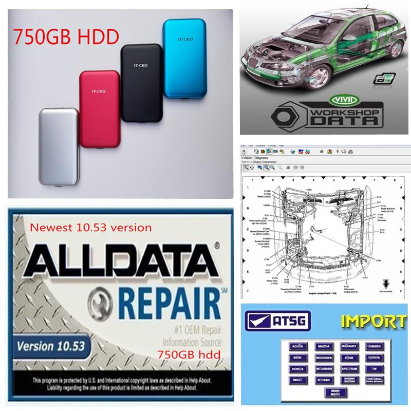 2020 hot Diagnostic tool Alldata 10.53 auto Repair soft-ware Vivid workshop atsg in 750GB HDD USB3.0