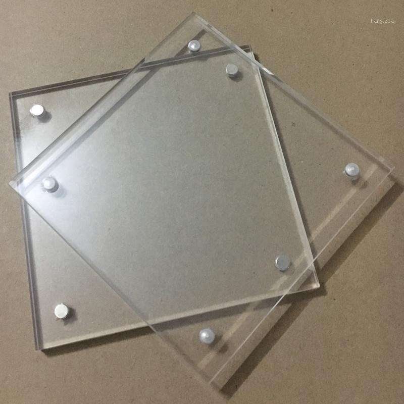 Décoration de la maison Cadre photo acrylique Cadre de photo 102x102mm d'épaisseur de 5 + 5 mm avec quatre cadres d'image carrée claire PMMA personnaliser n'importe quelle taille1