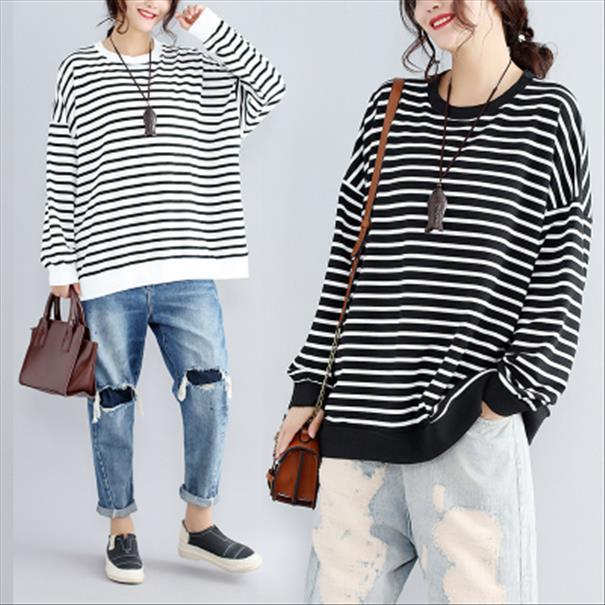 Obrix Stripped BaumwollHoodie für Frauen Große Aufmaß koreanische Art Female Sweatshirt Batwing Langarm-Tropfen-Verschiffen