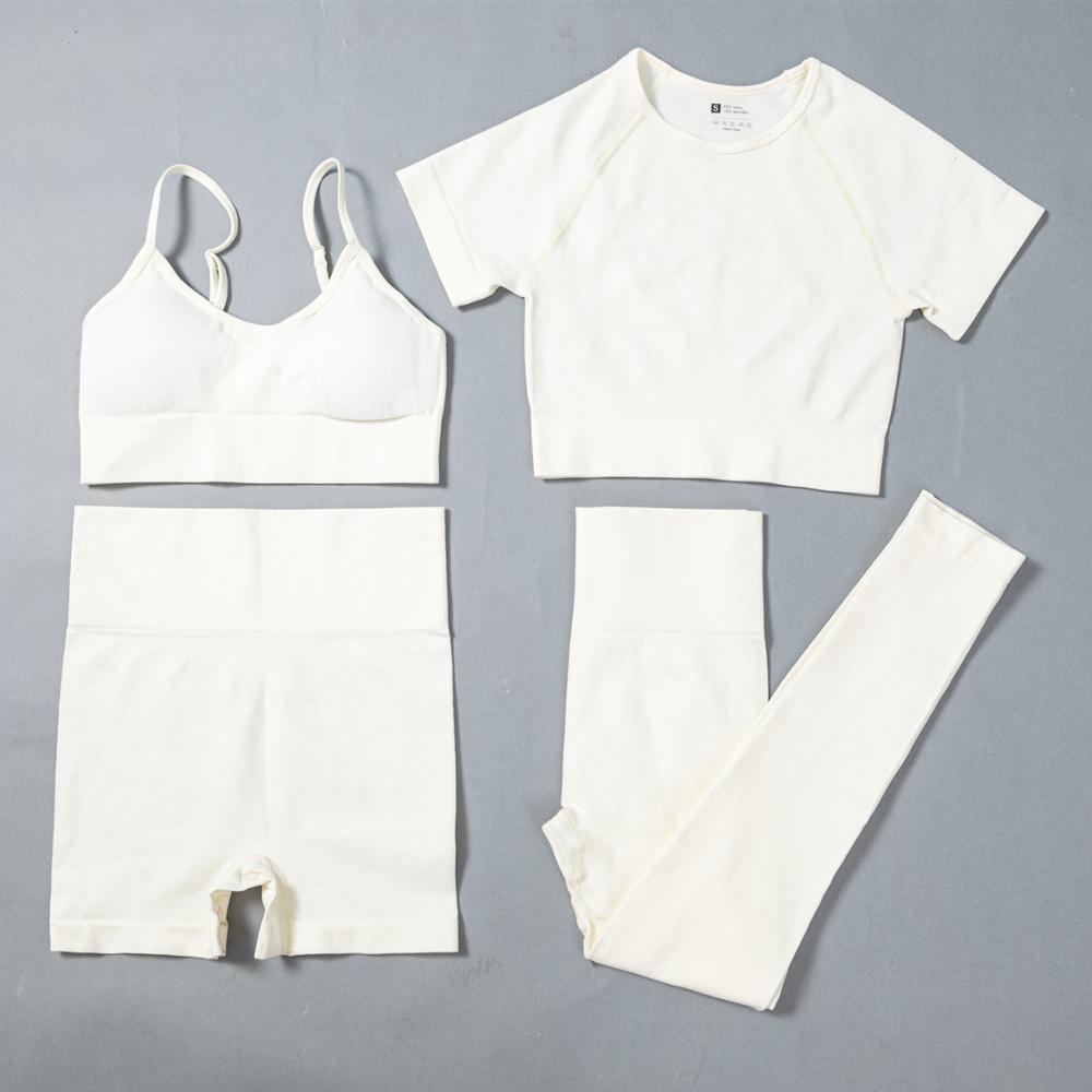 4PCS Seamless Leggings + Short Sleeve Crop Top + Sport-BH + Sport Shorts Yoga Set Sportbekleidung für Frauen Gym Kleidung Sportanzug C1114
