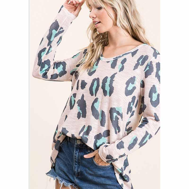 Mandylandy Sonbahar Kadın Tees Rahat Tişörtleri Kadın Artı Boyutu Tişörtleri Leopar Baskı Üst Kazaklar Uzun Kollu V Yaka Tops
