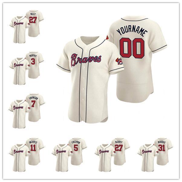 AtlantaBravesMänner Frauen Jugendliche Ronald 5 Freddie Freeman Creme Authentic 2020 Alternate Baseball Jersey