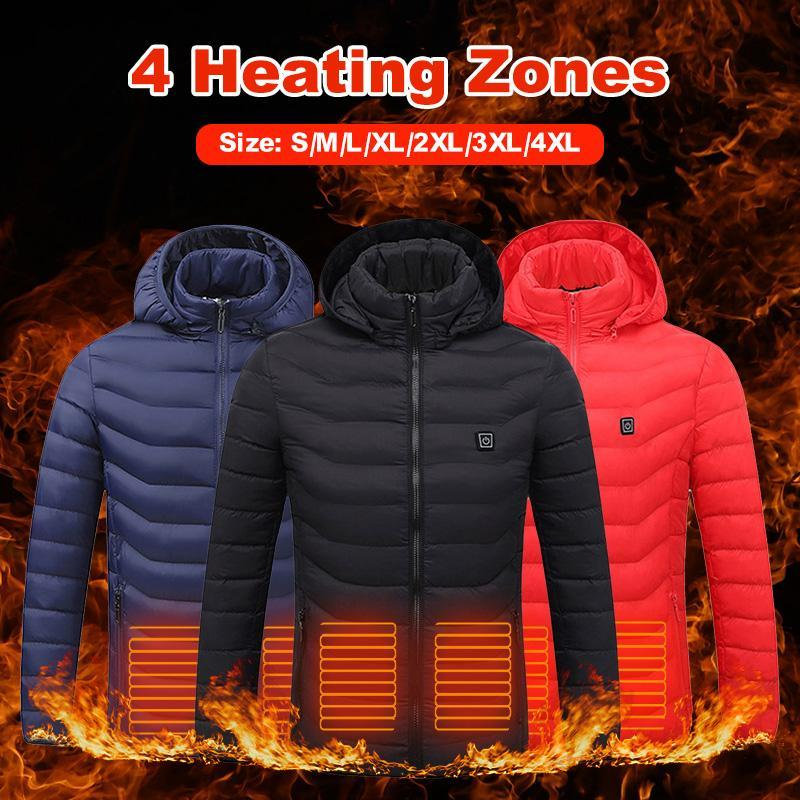 Outdoor T-Shirts 2021 USB 8 Areas Heated Vest Jacket Men Winter Electrical With Caps Hunting Waistcoat Hiking Dropship