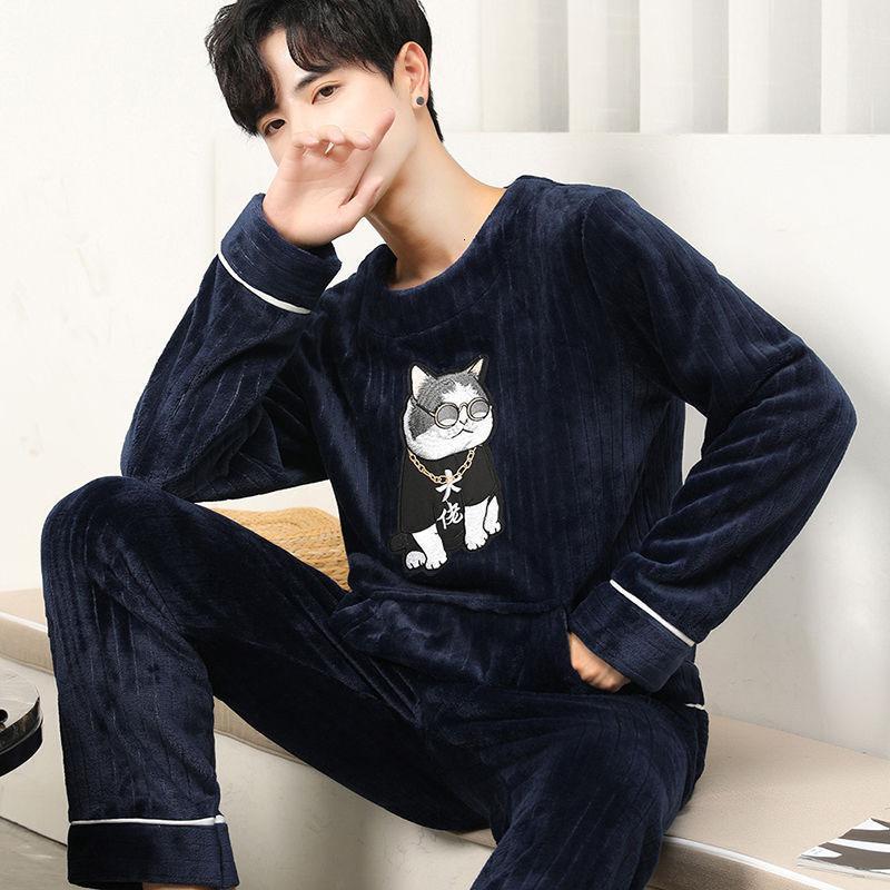 Winter Flanel Cartoon Men's Pajamas Set Fat Plus Flowers Home Costumes Long Mouw O-neck Nightwear Soft Warm Homewear