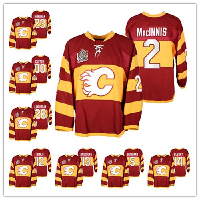 Özel Calgary Flames Heritage Klasik 2011 Al Macinnis 12 Jarome Iginla Sean Monahan Elias Lindholm Johnny Gaudreau Isınma Hokey Formaları
