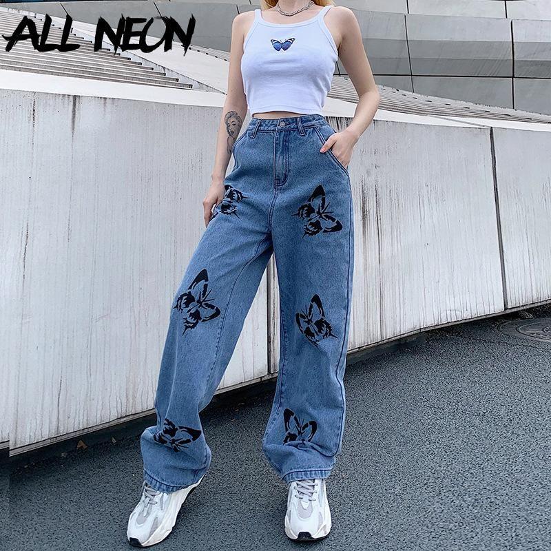 ALLNeon e-kız hip hop tarzı saldı Kelebek Baskı Geniş Bacak Pantolon Y2K Moda Yüksek Bel Demin Mavi Jeans Vintage Sonbahar 90'lar