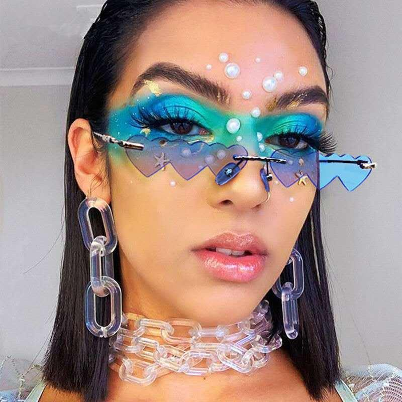 Sunglasses Vintage Rimless Love Heart Women Luxury Fashion Small Sun Glasses Female Retro Punk Blue Pink Mirror Oculos Feminino