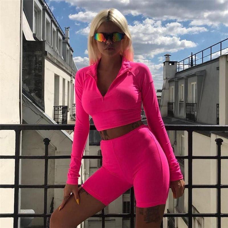 Женщина тренажерный зал спортивная одежда флуоресцентный цвет йога набор женщин бегущий одежда тренажерный зал леггинсы мягкие отжимания топ 2 шт спортивные костюмы S-L