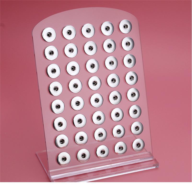 Новая кнопка нажатия ювелирных изделий белый акриловый дисплей на 40 шт. 18 мм Стенды Дисплей Съемный набор ZK Jlleao