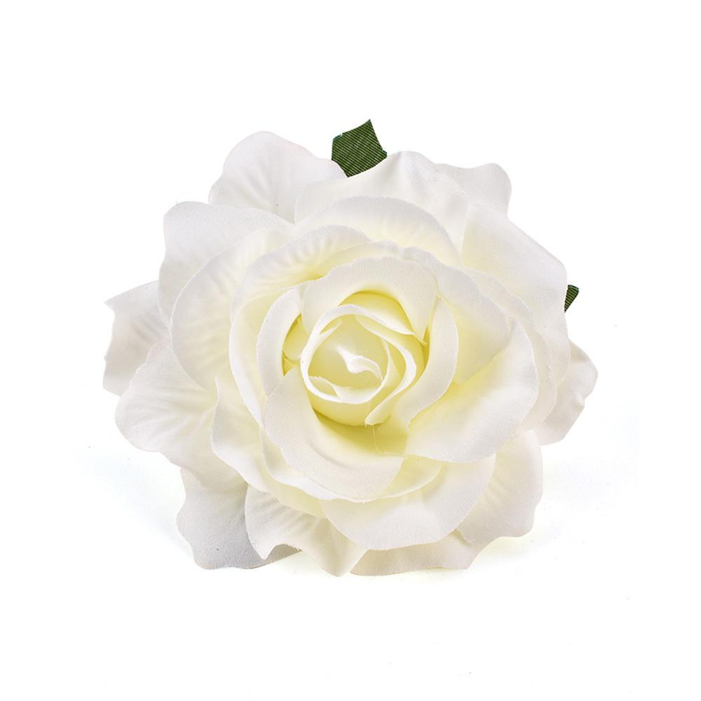 30pcs 9cm Chefes White Rose Artificial Silk flores para decoração de casamento Wreath Recados grinalda Box DIY presente Falso Flor Heads C1111
