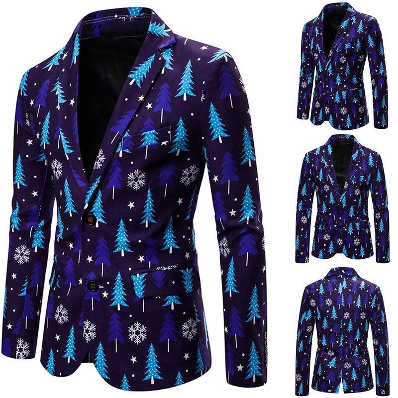 Herren Bedruckte Anzüge Weihnachten Muster Männer Jacke 2019 Casual Flat Barge Kragen Männliche Mantel Herren Gothic Fashion Party Blazer